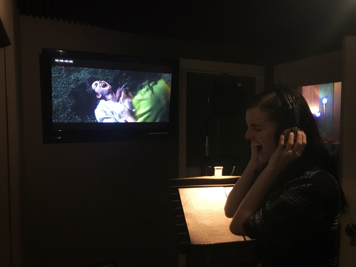 Lydia Hearst adds blood-curdling SCREAMS during a post dubbing session.